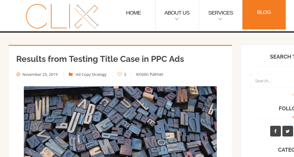 Screenshot Clix Marketing blog post header of title case test for PPC ads